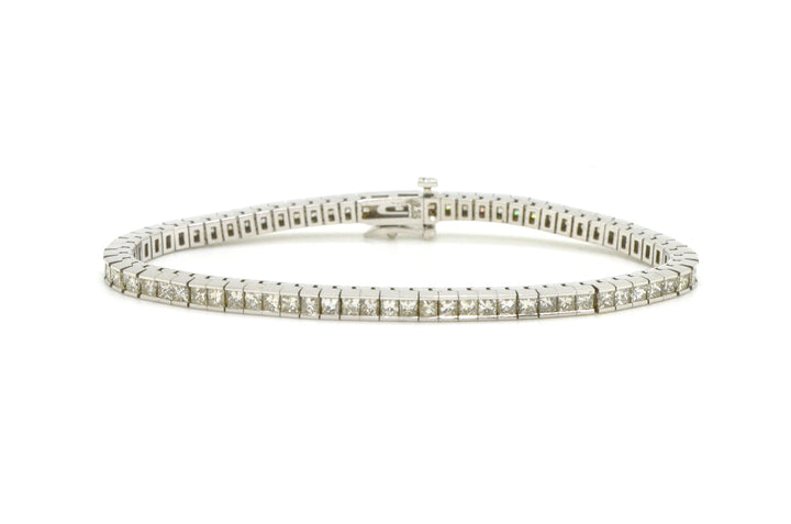 14k White Gold Princess Diamond Tennis Fine Bracelet - 5.00 ct. total - 7 in