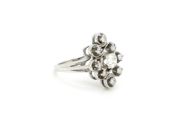 14k White Gold Diamond Cluster Cocktail Ring - .45 ct. total - Size 7.75