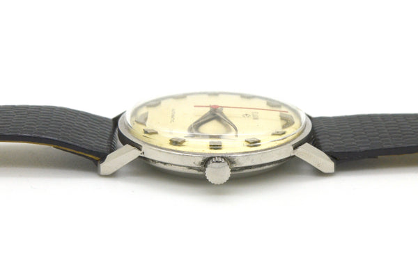Vintage Elgin Stainless Steel Automatic Watch with Black Leather Strap