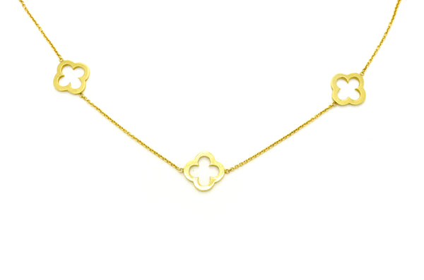 14k Yellow Gold Designer-Inspired Necklace with 3 Clover Components -17.5 in.