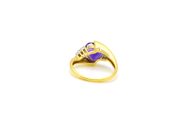 14k Yellow Gold Diamond & Purple Amethyst Heart Cocktail Ring - Size 7.25