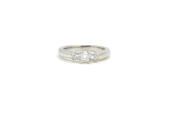Platinum Three Stone Princess Diamond Engagement Ring - .50 ct. total - Size 6