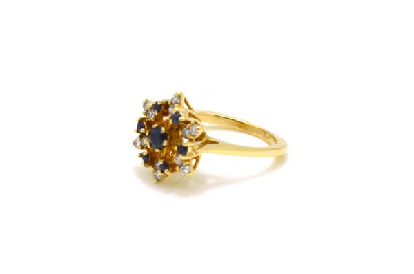 Vintage 14k Yellow Gold Sapphire and Diamond Ring - .60 ct. total - Size 6