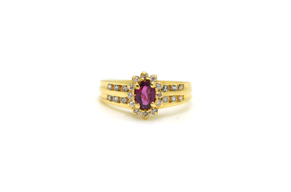 14k Yellow Gold Diamond & Garnet Halo Cocktail Ring - .55 ct. total - Size 7.75