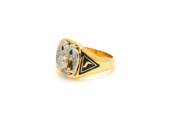 14k Yellow Gold & Platinum Diamond 32 Degree Masonic Ring - .25 ct. - Size 8.75