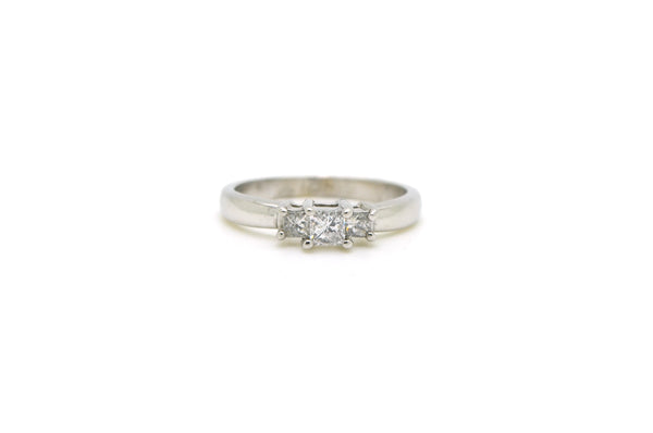 14k White Gold 3 Stone Princess Diamond Engagement Ring - .40 ct. total - Size 7