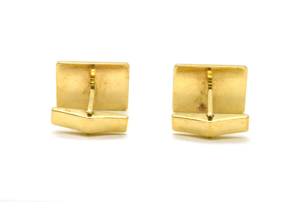 Vintage 14k Yellow Gold Rectangular Masonic Cufflinks with Enamel - 9.2 dwt