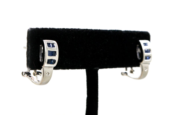 14k White Gold Diamond & Sapphire Huggie Earrings - 16 mm Drop - .40 ct. total