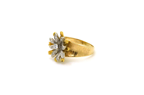 14k Yellow & White Gold Diamond Flower Cocktail Ring - .15 ct. total - Size 6.25