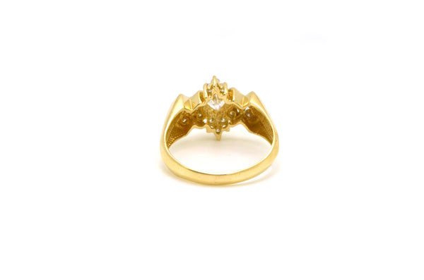 14k Yellow Gold Princess Diamond Cluster Ring - 1.05 ct. total - Size 9.75