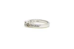 14k White Gold Princess Cut Diamond 3-stone Ring - .56 ct. total - Size 6.5