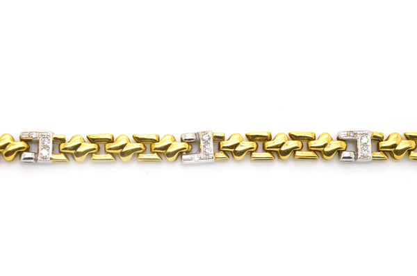 18k Yellow & White Gold Diamond Link Tennis Bracelet - .20 ct. total - 7 in.