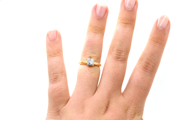 Vintage 14k White & Yellow Gold Diamond Engagement Ring - .45 ct - Size 5