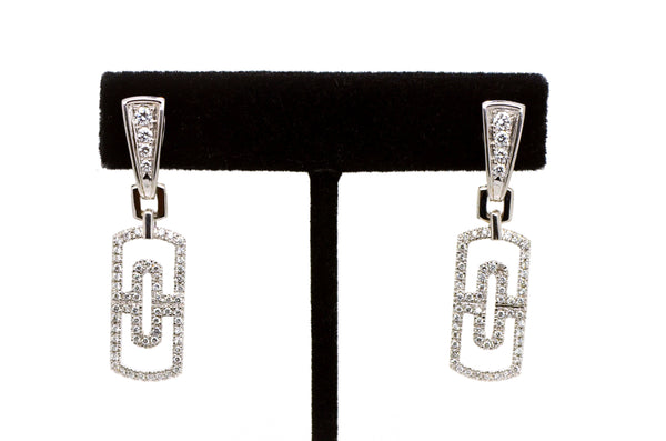 Designer Inspired 18k White Gold Diamond Dangle Drop Earrings - 1.55 ct. total