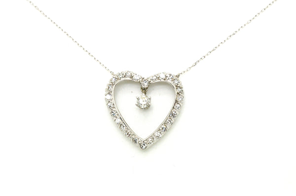 14k White Gold Diamond Heart Shaped Pendant Necklace - 1.15 ct. total - 16 in.