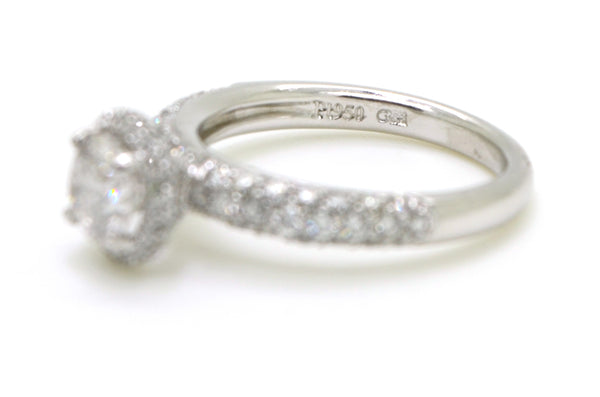 Gregg Ruth Platinum Diamond Halo Engagement Ring - 1.93 ct. total - Size 6.25