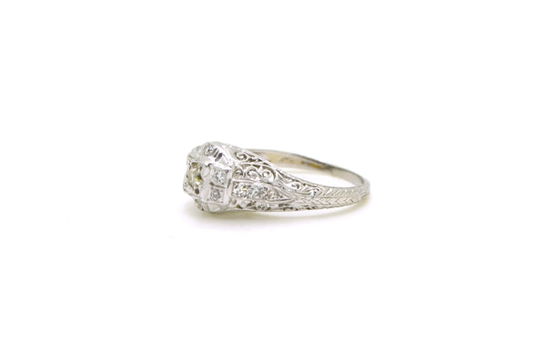 Vintage Art Deco Diamond Engagement Ring with Filagree - .50 ct. tw - Size 6.25
