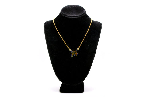 14k Yellow Gold Plique a Jour Enameled Butterfly Necklace -Blue Red Yellow Green