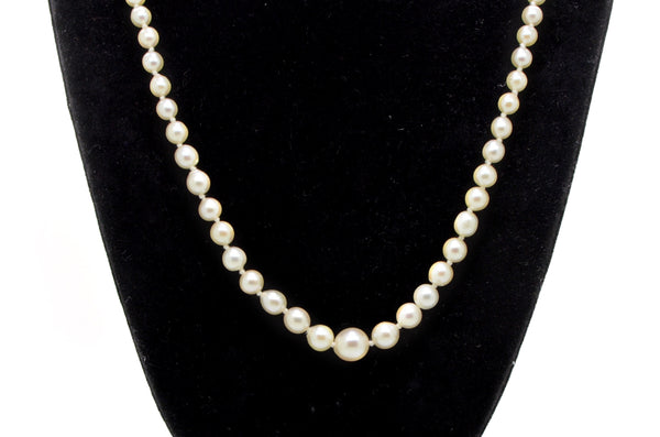 10k White Gold Graduated White Akoya Pearl Strand Necklace with Clasp - 15 in.