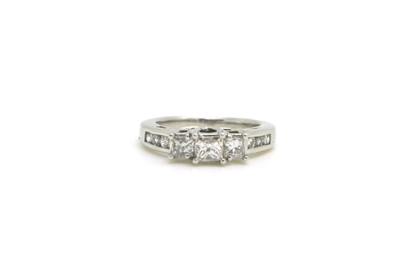 Platinum 3 Stone Princess Diamond Engagement Ring - 1.00 ct. total - Size 6.5