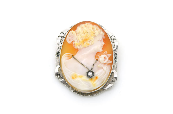 Vintage 10k White Gold Woman Cameo Diamond Pendant Brooch in Frame - 44 by 35 mm