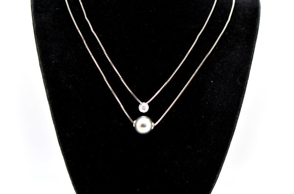 18k White Gold Two-tiered Diamond & Black Pearl Necklace - .10 ct. total - 16 in
