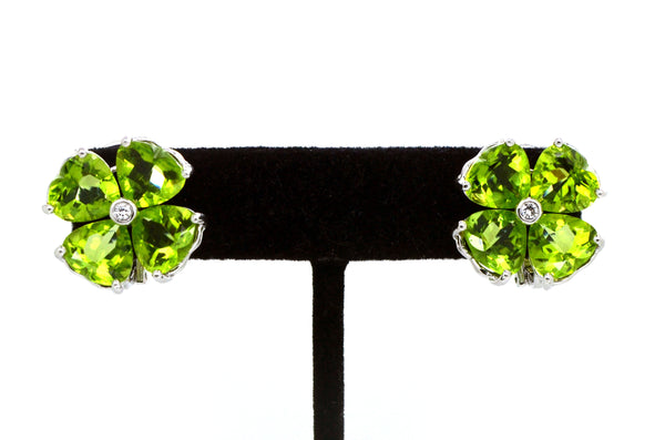 18k White Gold Huggie Peridot & Diamond Statement Earrings - For Pierced & Not