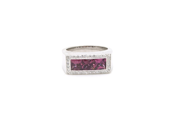 14k White Gold Pink Tourmaline & Diamond Cocktail Ring - 2.15 ct. tw - Size 7