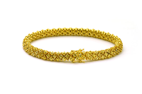 Vintage 18k Yellow Gold Yellow Sapphire Tennis Bracelet - 6.00 ct. total - 7 in.