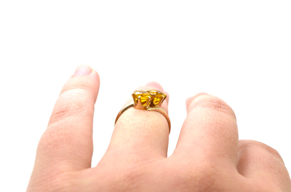 Vintage 14k Yellow Gold Orange Citrine Twin Bypass Style Cocktail Ring - Size 6