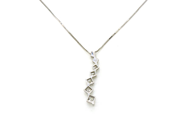 14k White Gold Seven Princess Diamond Journey Necklace - 1.00 ct. total - 18 in.
