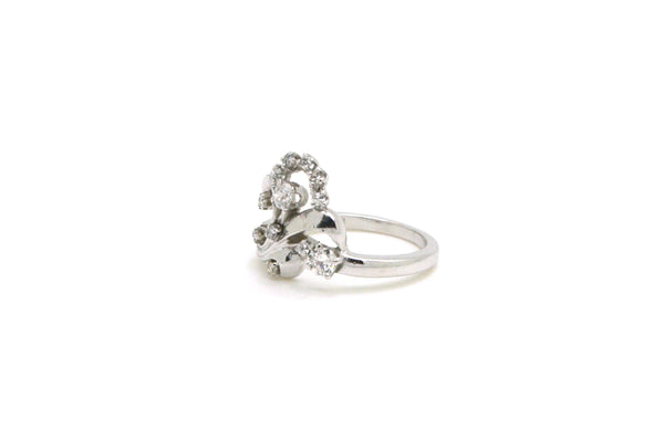 Vintage 14k White Gold Diamond Floral Cocktail Ring - .35 ct. total - Size 5.5