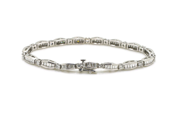 14k White Gold Round & Baguette Diamond Tennis Bracelet - 2.50 ct. tw - 7.25 in.