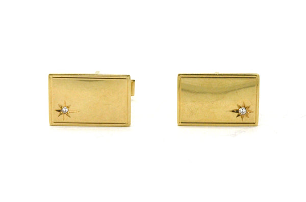 Vintage 14k Yellow Gold Rectangular Star Cufflinks with Diamonds - 6.2 dwt