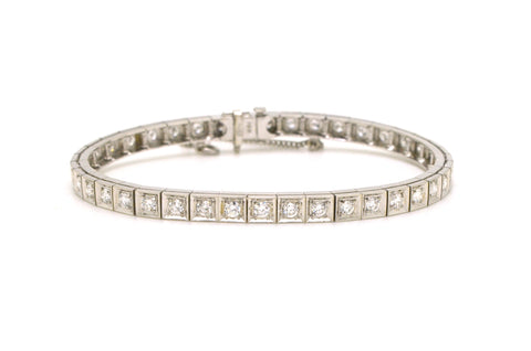 14k White Gold Box Link Diamond Tennis Bracelet - 2.75 ct. total - 7.25 in.