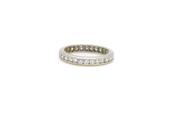 Platinum Channel-Set Round Diamond Eternity Band Ring - 1.00 ct total - Size 5.5