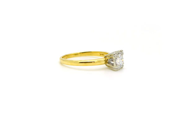 Vintage 14k Yellow & White Gold Diamond Solitaire Ring - .45 ct. - Size 7.5