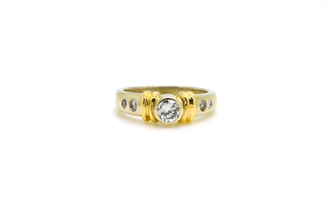 14k White & Yellow Gold Round Diamond Engagement Ring - .55 ct. total - Size 6.5