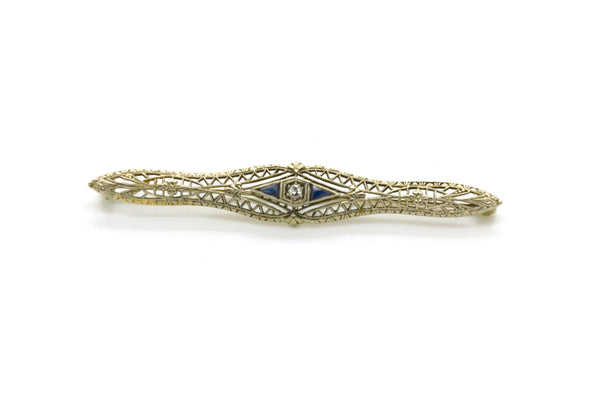 Vintage Art Deco 10k White Gold Diamond and Sapphire Brooch Pin - .15 ct. total