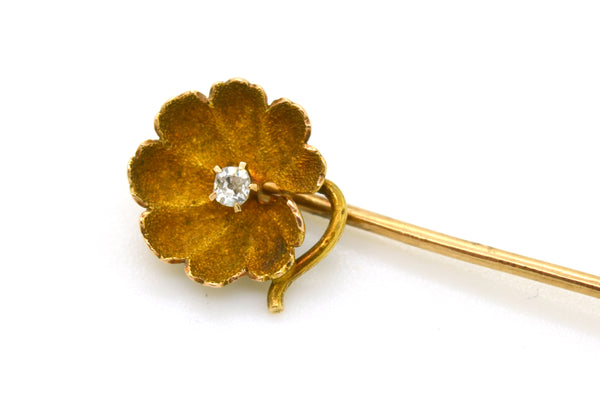 Vintage 14k Yellow Gold Small Flower Diamond Stick Pin Brooch - .03 ct.