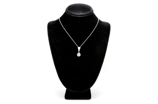 14k White Gold Bezel Set Diamond Drop Pendant Necklace - .93 ct. total - 16 in.