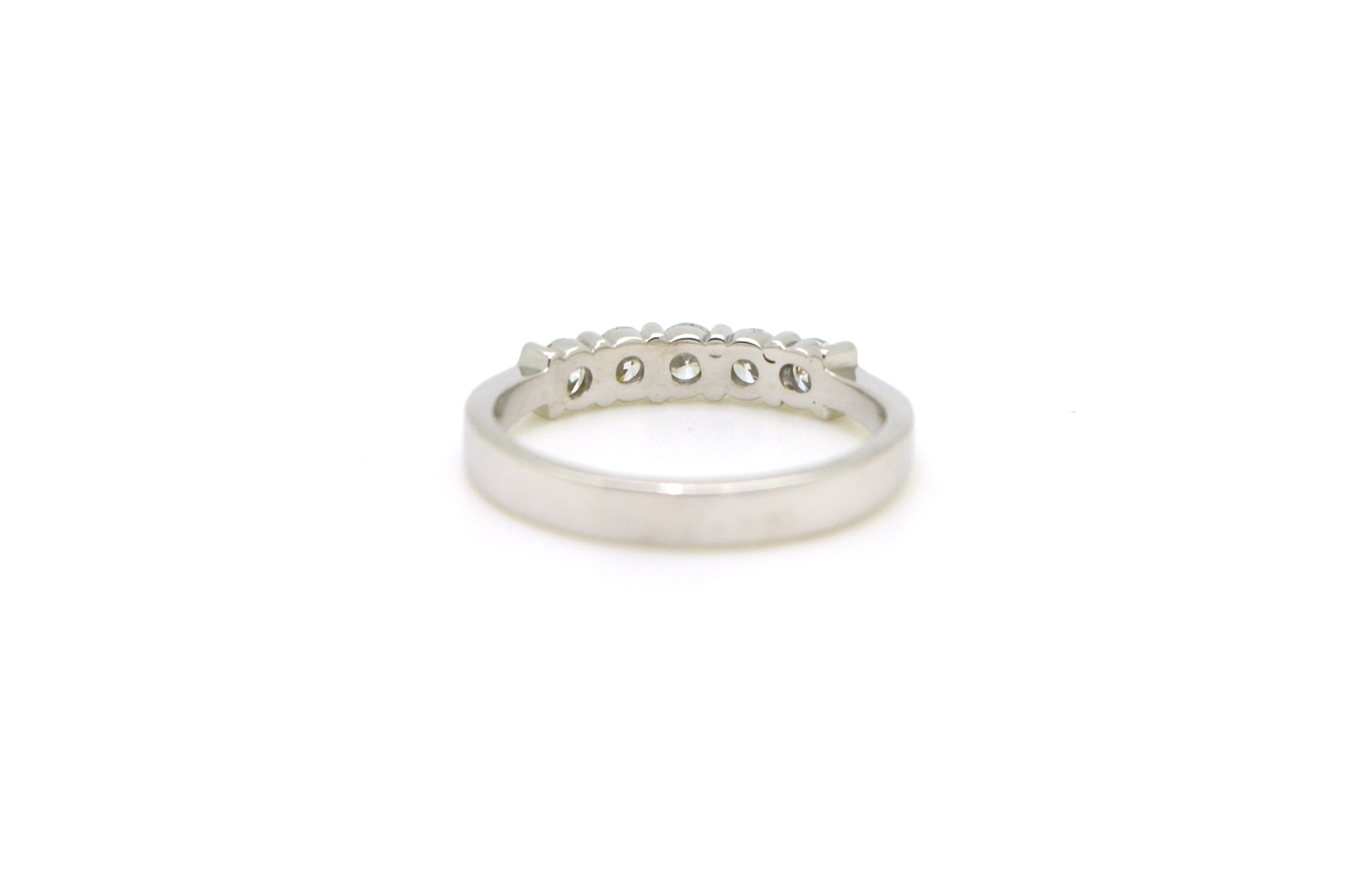 Platinum Prong-Set 5-Stone Round Diamond Band Ring - .50 ct. total - Size 6