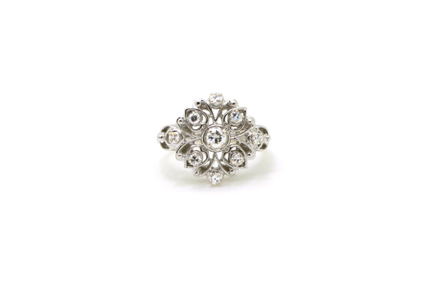 Vintage 14k White Gold Cluster Diamond Cocktail Ring - .50 ct. total - Size 6.25