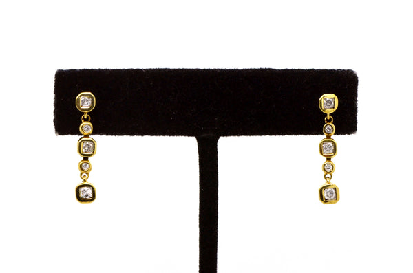 14k Yellow Gold Diamond Dangle Drop Earrings - 24 mm drop - .25 ct. total
