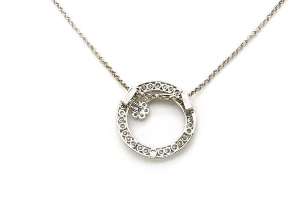 Vintage 14k White Gold Diamond Round Spiral Necklace - 2.25 ct. total - 22 in.