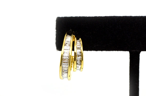 14k Yellow Gold Baguette Diamond Double Hoop Earrings - 20 mm Drop - 1.00 ct. tw