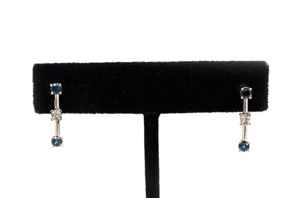 14k White Gold Drop Earrings with Sapphires and Diamonds - .55 ct. total