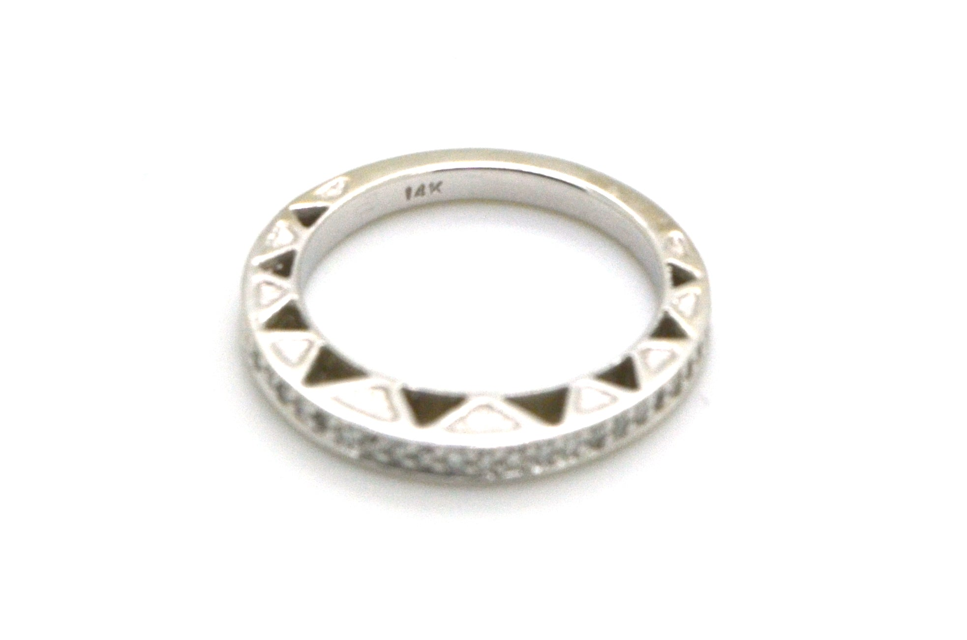 14k White Gold Diamond Pave ZigZag Gallery Band Ring - .50 ct. total - Size 6