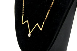 14k Yellow Gold Diamond Zig-Zag Stationary Pendant Necklace - .25 ct. - 15.5 in.