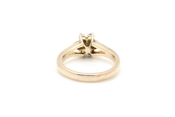 14k Yellow Gold Diamond Split-Shank Flower Cluster Ring - .60 ct. total - Size 9